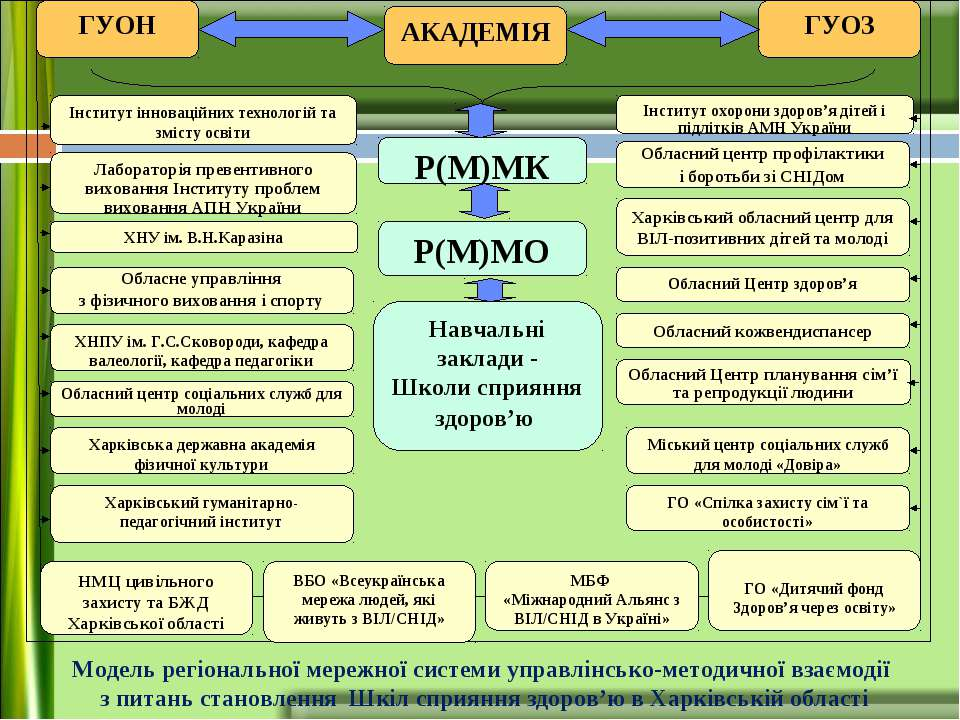 Модель регіональної мережної системи управлінсько-методичної взаємодії з пита...