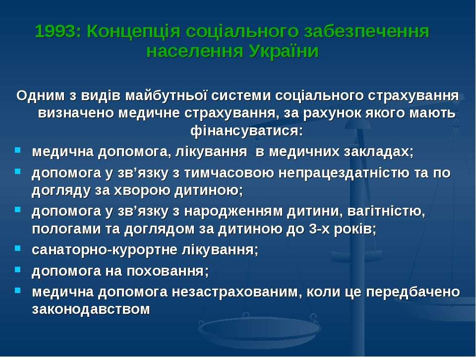 1993: Концепція соціального забезпечення населення України Одним з видів майб...