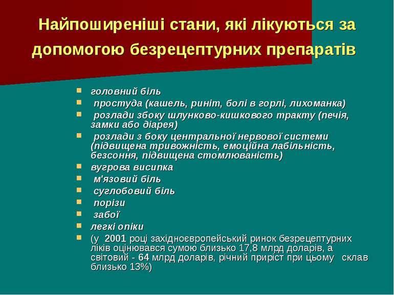 Найпоширеніші стани, які лікуються за допомогою безрецептурних препаратів гол...