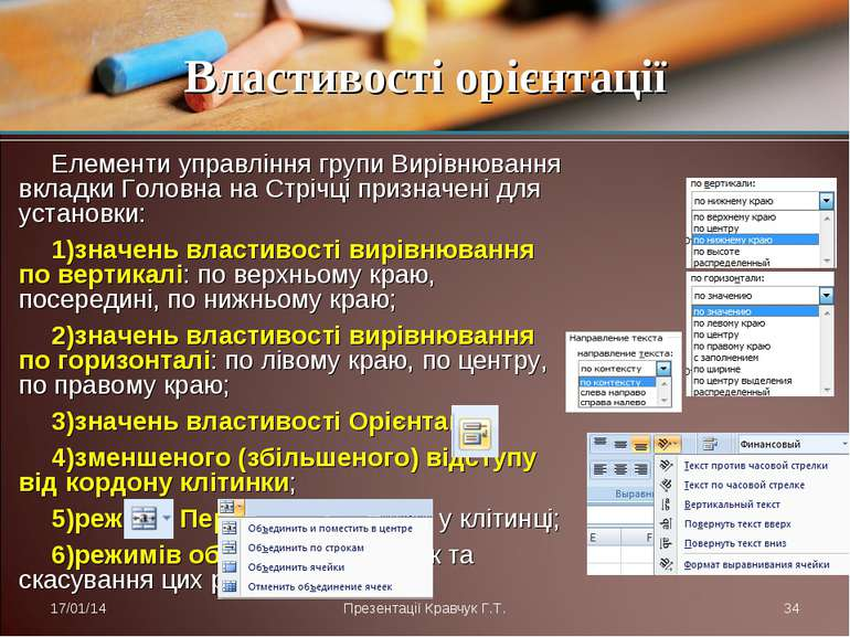 Елементи управління групи Вирівнювання вкладки Головна на Стрічці призначені ...
