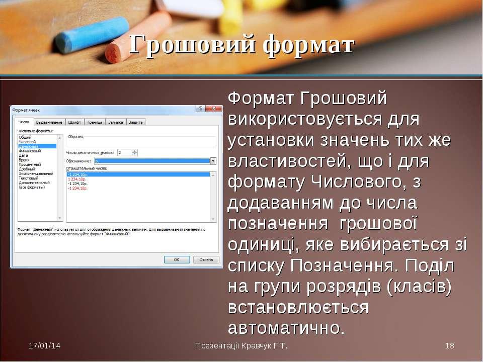 Формат Грошовий використовується для установки значень тих же властивостей, щ...