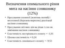 Визначення опимального рівня мита на насіння соняшнику (12%) Врахування сезон...