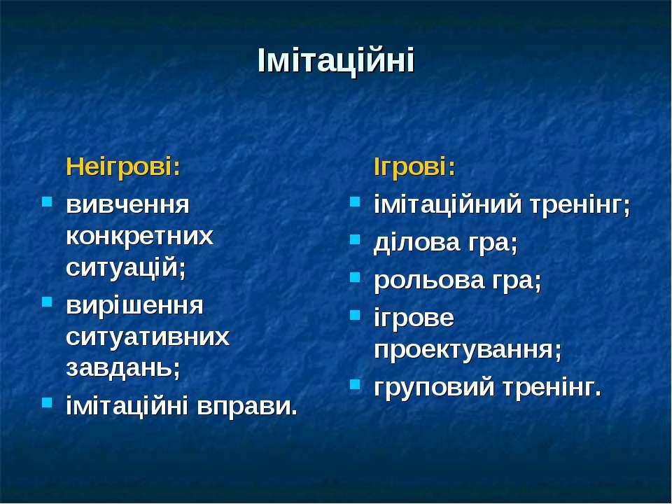 Імітаційні Неігрові: вивчення конкретних ситуацій; вирішення ситуативних завд...