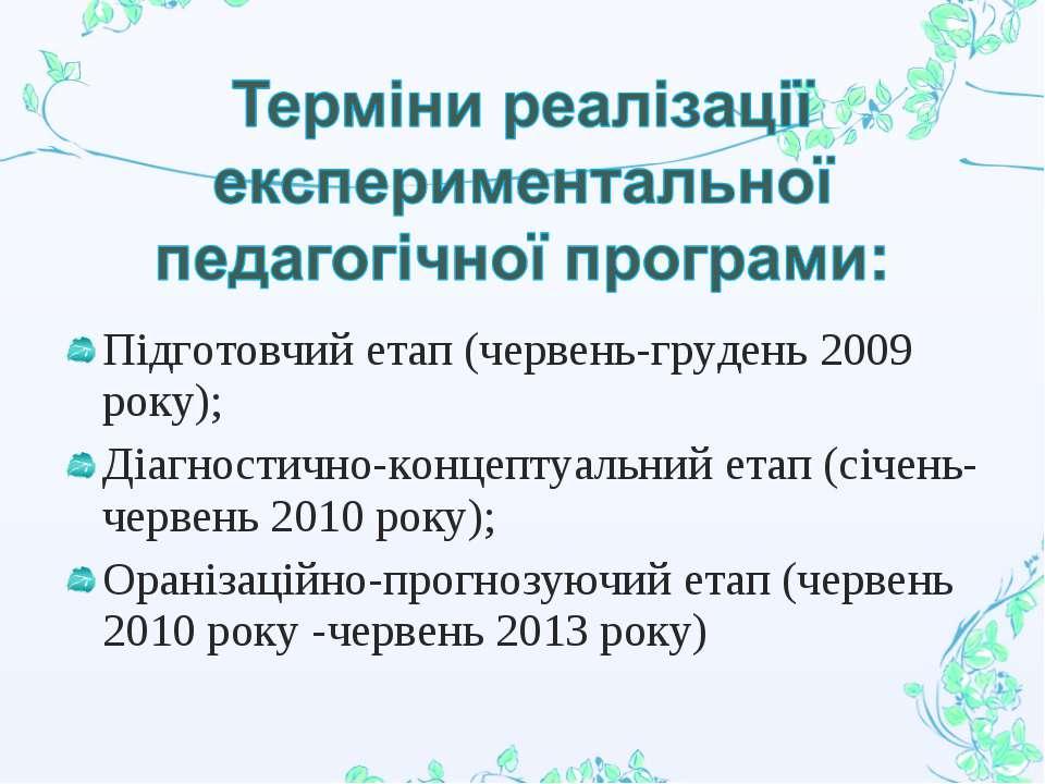 Підготовчий етап (червень-грудень 2009 року); Діагностично-концептуальний ета...