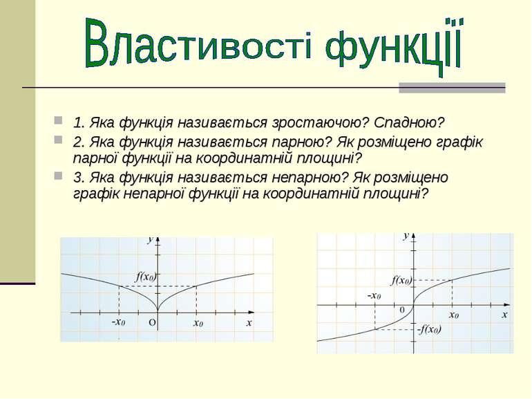 1. Яка функція називається зростаючою? Спадною? 2. Яка функція називається па...