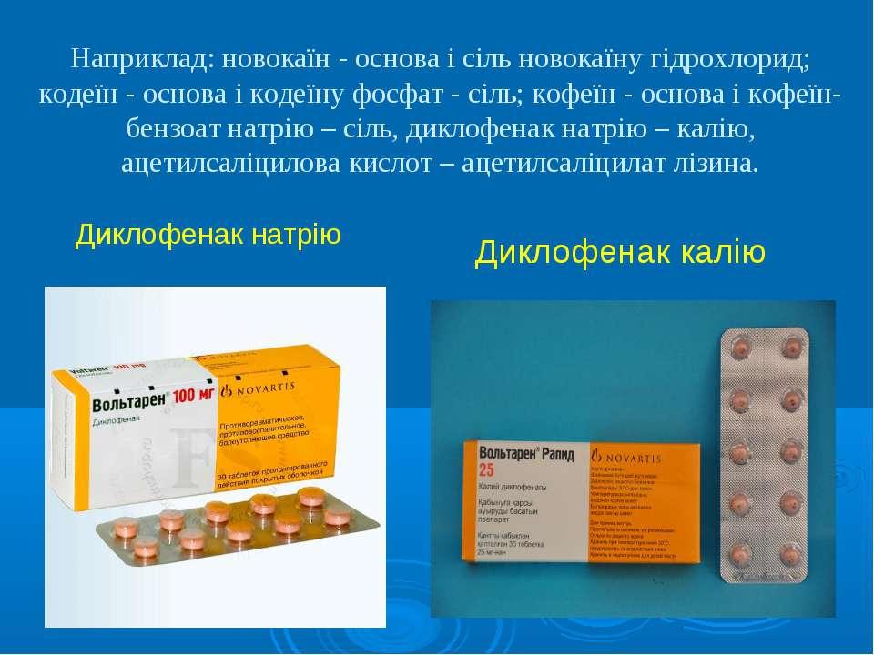 Наприклад: новокаїн - основа і сіль новокаїну гідрохлорид; кодеїн - основа і ...