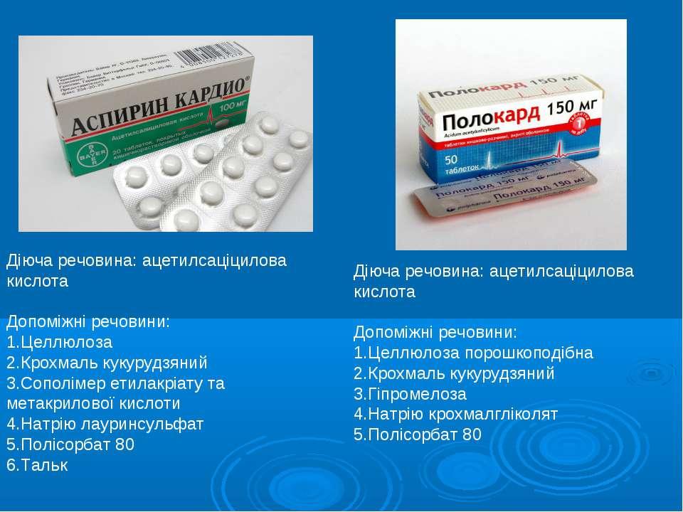 Діюча речовина: ацетилсаціцилова кислота Допоміжні речовини: Целлюлоза Крохма...
