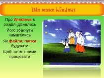 Про Windows в розділі дізнались Його збагнути намагались Як файли, папки буду...