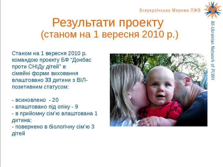 Результати проекту (станом на 1 вересня 2010 р.) Станом на 1 вересня 2010 р. ...