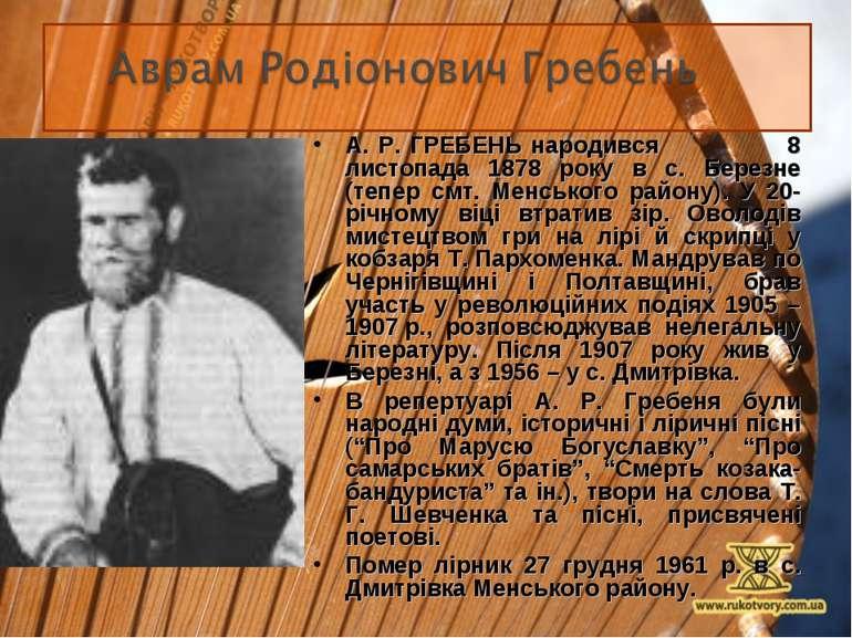 А. Р. ГРЕБЕНЬ народився 8 листопада 1878 року в с. Березне (тепер смт. Менськ...