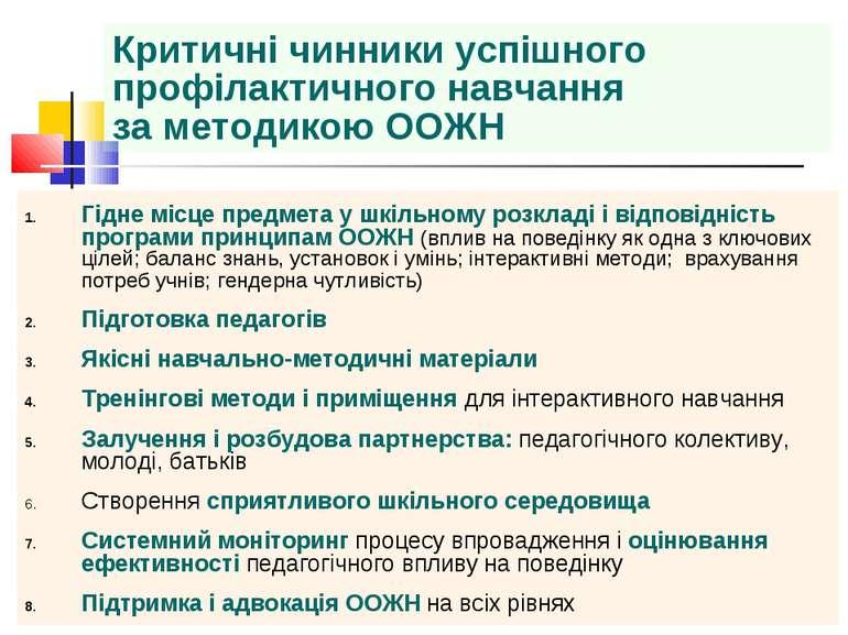 Критичні чинники успішного профілактичного навчання за методикою ООЖН Гідне м...