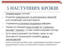 5 НАСТУПНИХ КРОКІВ Повний аналіз ситуації Розробка національної та регіональн...