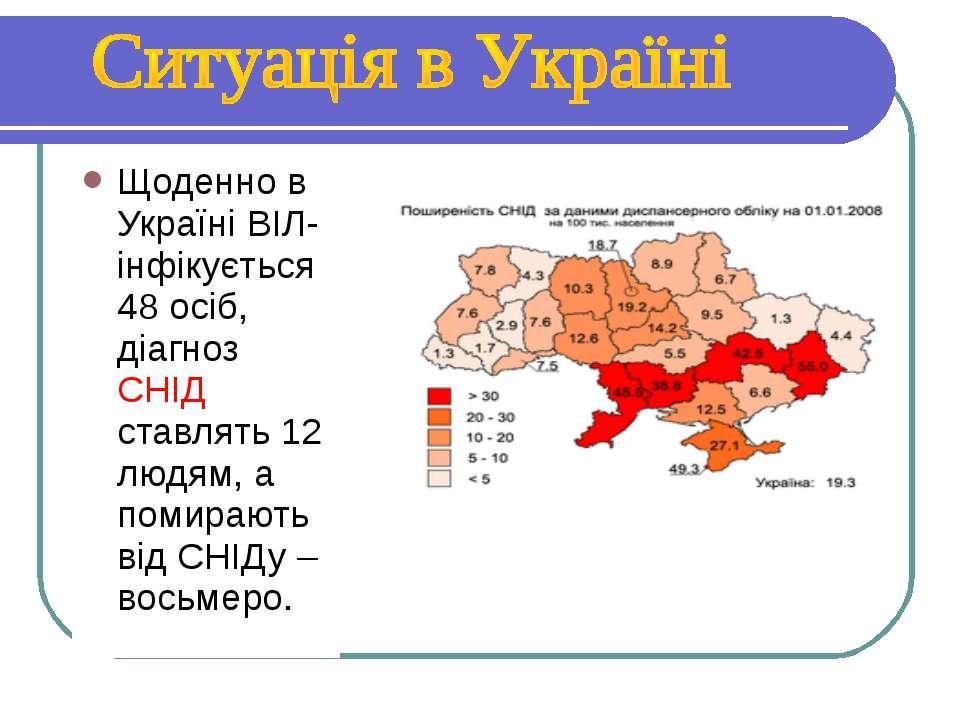Щоденно в Україні ВІЛ-інфікується 48 осіб, діагноз СНІД ставлять 12 людям, а ...