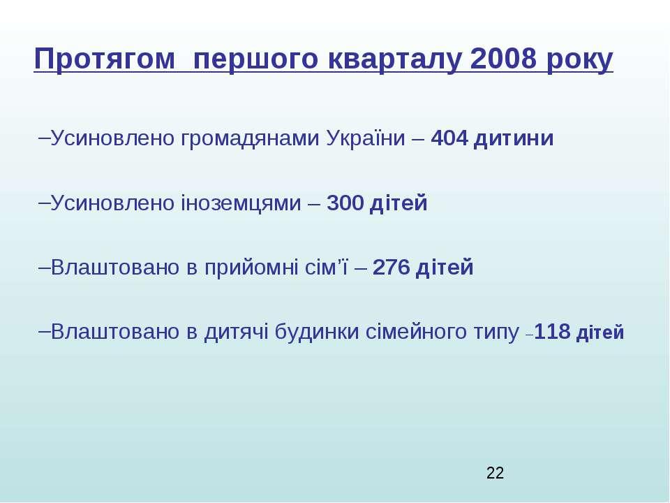 Протягом першого кварталу 2008 року Усиновлено громадянами України – 404 дити...