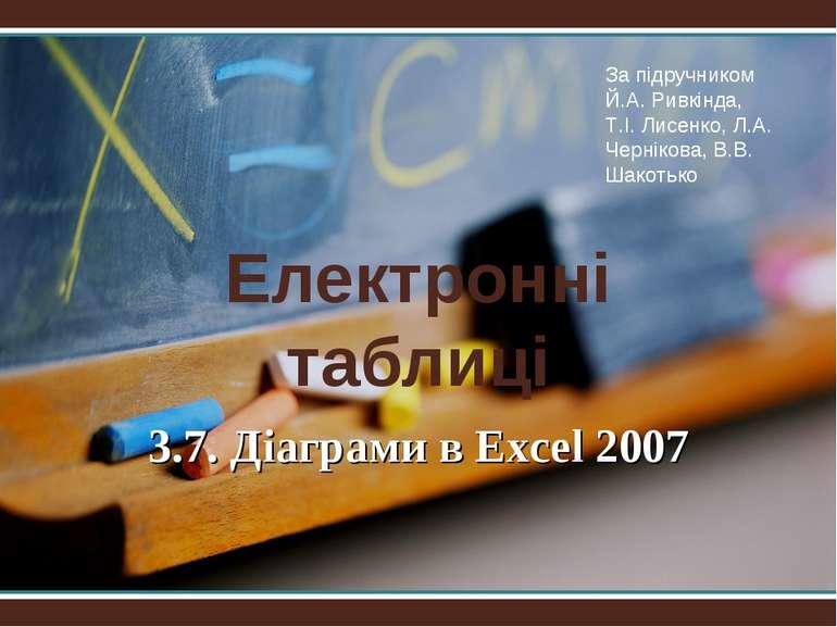 Електронні таблиці 3.7. Діаграми в Excel 2007 За підручником Й.А. Ривкіндa, Т...