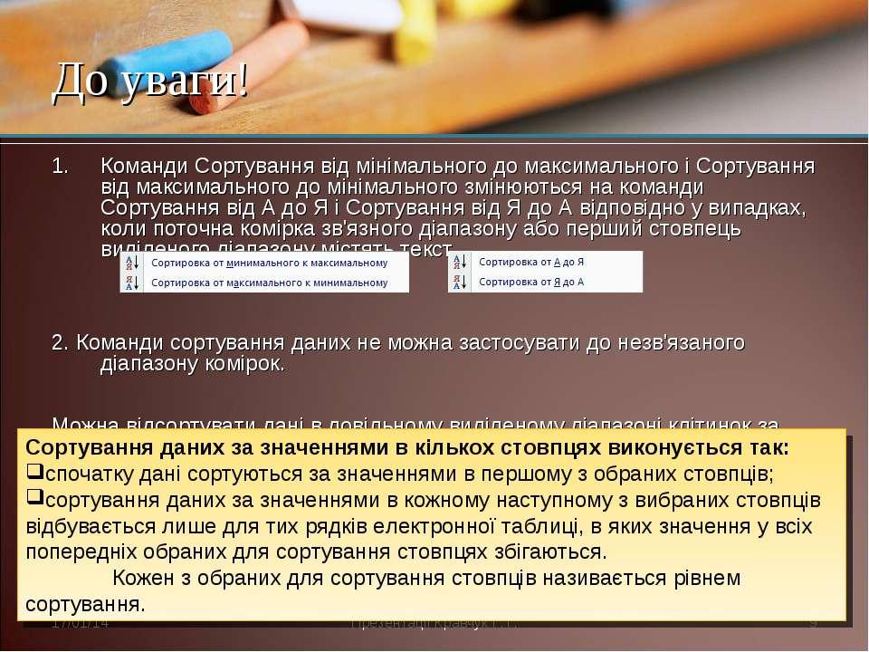Команди Сортування від мінімального до максимального і Сортування від максима...
