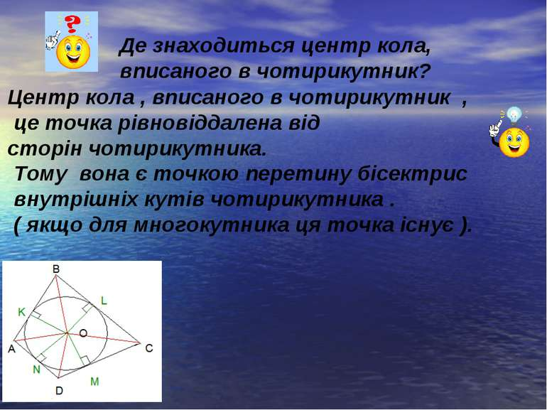 Де знаходиться центр кола, вписаного в чотирикутник? Центр кола , вписаного в...