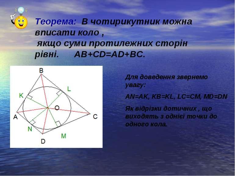 Теорема: В чотирикутник можна вписати коло , якщо суми протилежних сторін рів...