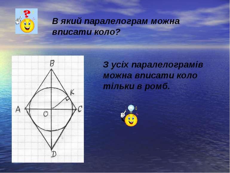 В який паралелограм можна вписати коло? З усіх паралелограмів можна вписати к...