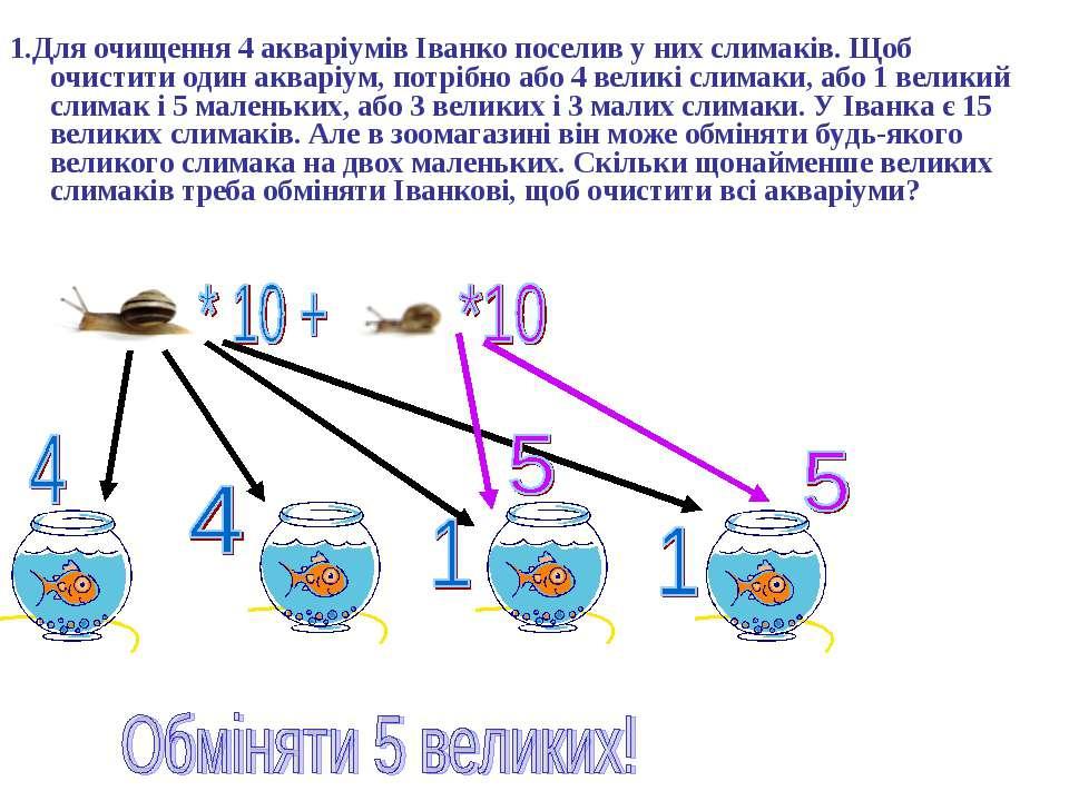 1.Для очищення 4 акваріумів Іванко поселив у них слимаків. Щоб очистити один ...