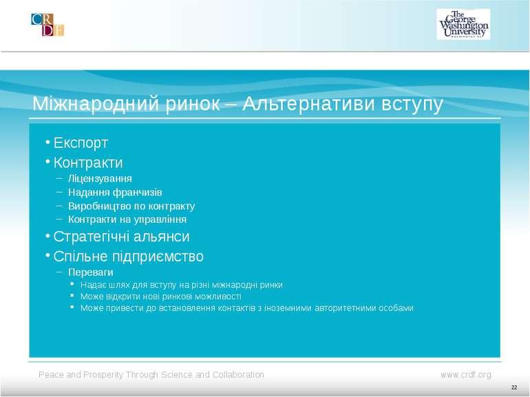 Міжнародний ринок – Альтернативи вступу Експорт Контракти Ліцензування Наданн...