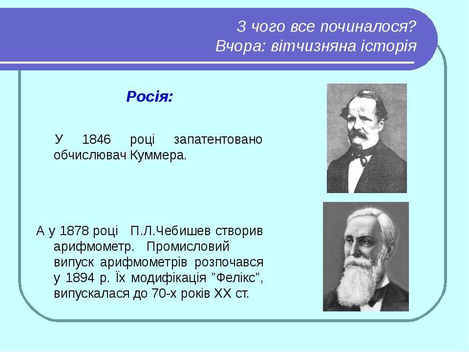 З чого все починалося? Вчора: вітчизняна історія Росія: У 1846 році запатенто...