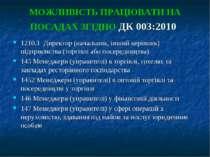 МОЖЛИВІСТЬ ПРАЦЮВАТИ НА ПОСАДАХ ЗГІДНО ДК 003:2010 1210.1 Директор (начальни...