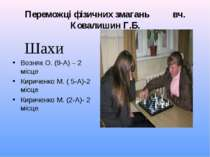 Переможці фізичних змагань вч. Ковалишин Г.Б. Шахи Возняк О. (9-А) – 2 місце ...