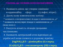1. Називають аніон, що утворює зовнішню координаційну сферу (сульфат, нітрат)...