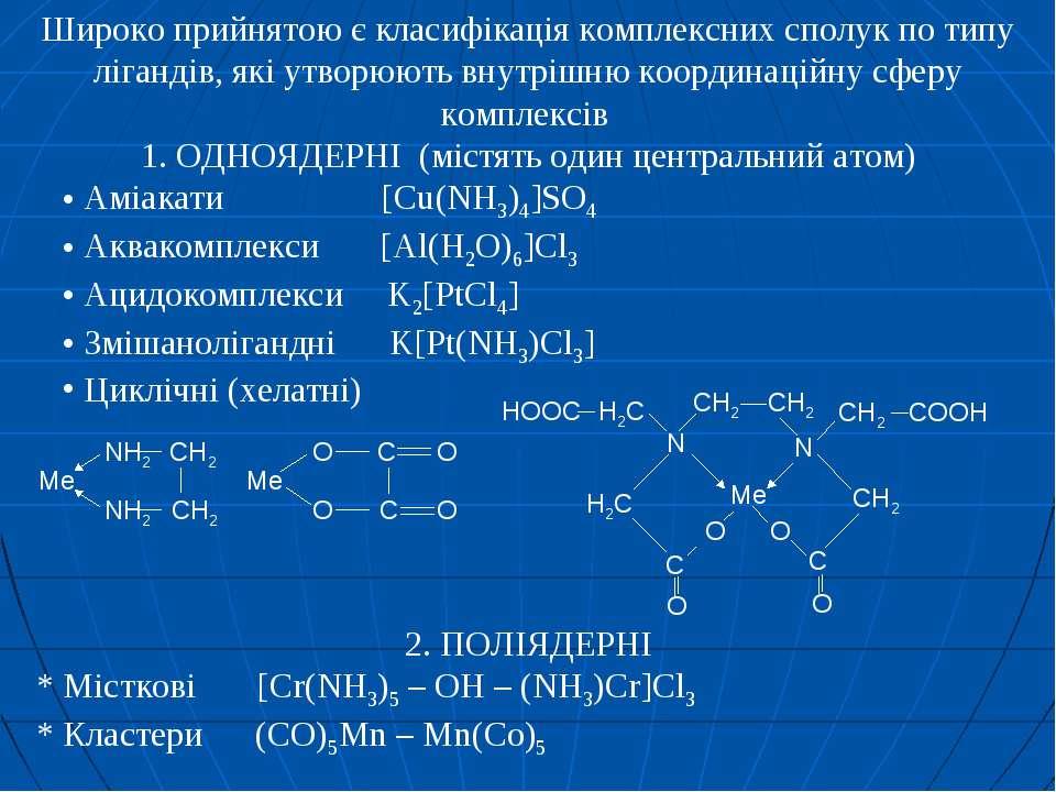 Широко прийнятою є класифікація комплексних сполук по типу лігандів, які утво...
