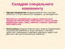 Складові спеціального компоненту Науково-теоретична складова компетентності о...