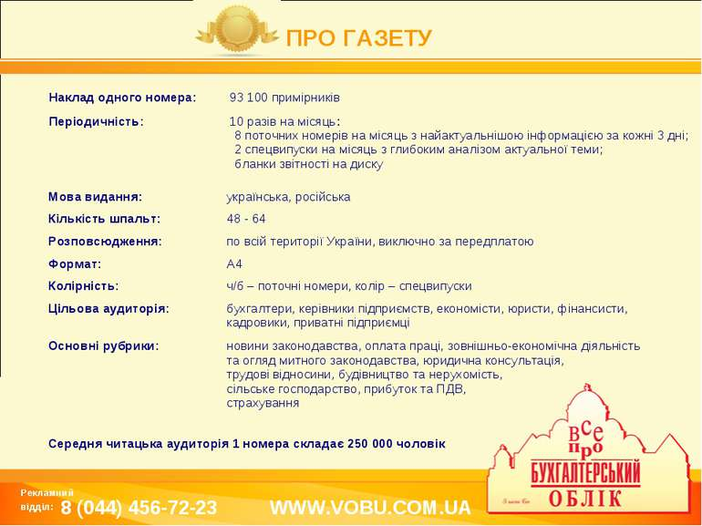 ПРО ГАЗЕТУ WWW.VOBU.COM.UA Рекламний відділ: 8 (044) 456-72-23 Наклад одного ...