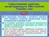 Серед основних запитань, на які відповідали 1066 учителів України, такі: Чи в...