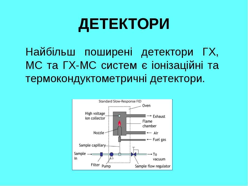 ДЕТЕКТОРИ Найбільш поширені детектори ГХ, МС та ГХ-МС систем є іонізаційні та...