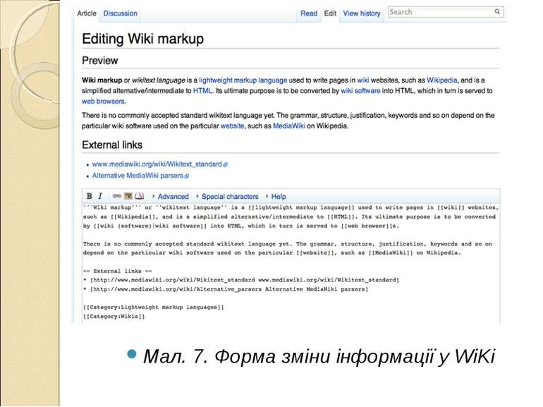 Мал. 7. Форма зміни інформації у WiKi