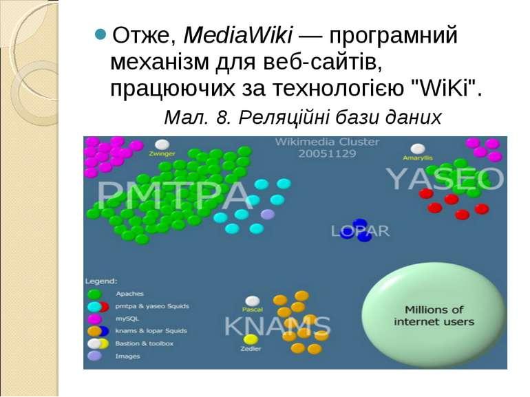 Отже, MediaWiki — програмний механізм для веб-сайтів, працюючих за технологіє...