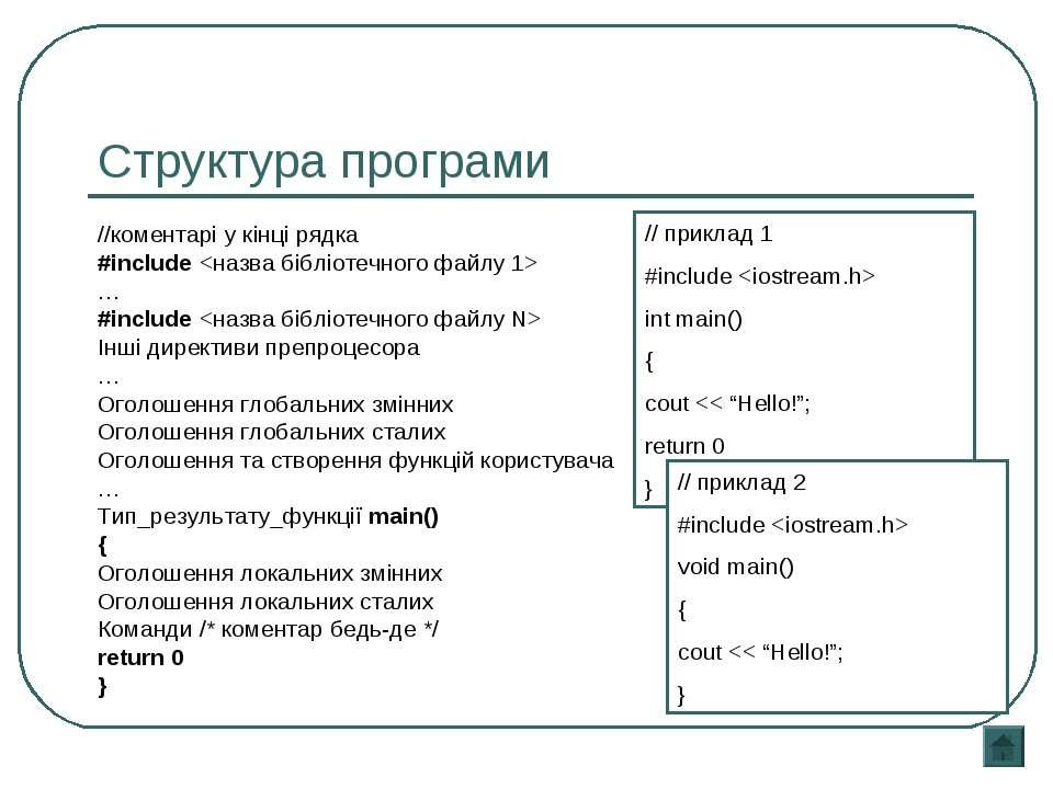 Структура програми //коментарі у кінці рядка #include … #include Інші директи...