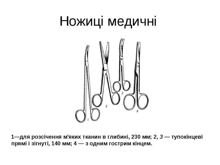 Ножиці медичні 1—для розсічення м'яких тканин в глибині, 230 мм; 2, 3 — тупок...