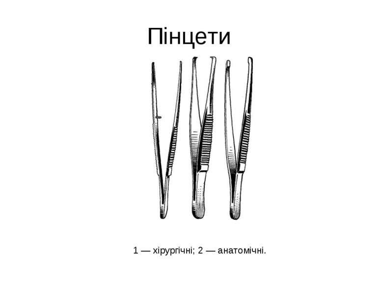 Пінцети 1 — хірургічні; 2 — анатомічні.