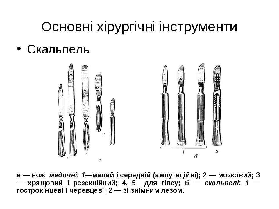 Основні хірургічні інструменти Скальпель а — ножі медичні: 1—малий і середній...