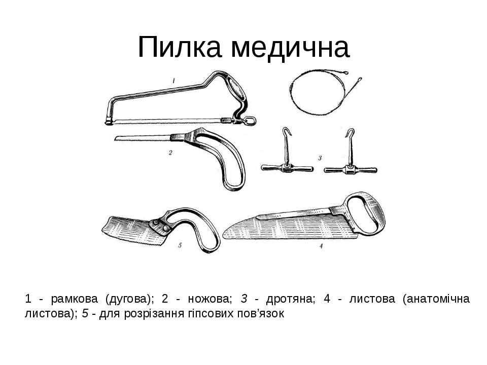 Пилка медична 1 - рамкова (дугова); 2 - ножова; 3 - дротяна; 4 - листова (ана...