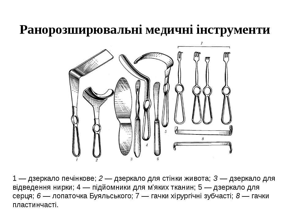 Ранорозширювальні медичні інструменти 1 — дзеркало печінкове; 2 — дзеркало дл...