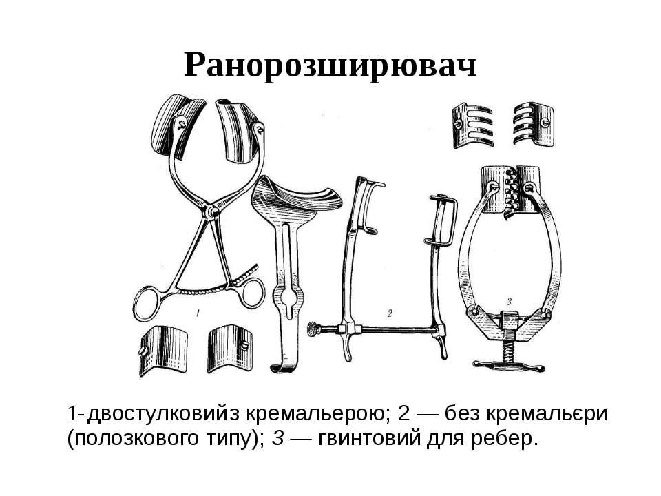 Ранорозширювач 1- двостулковий з кремальерою; 2 — без кремальєри (полозкового...
