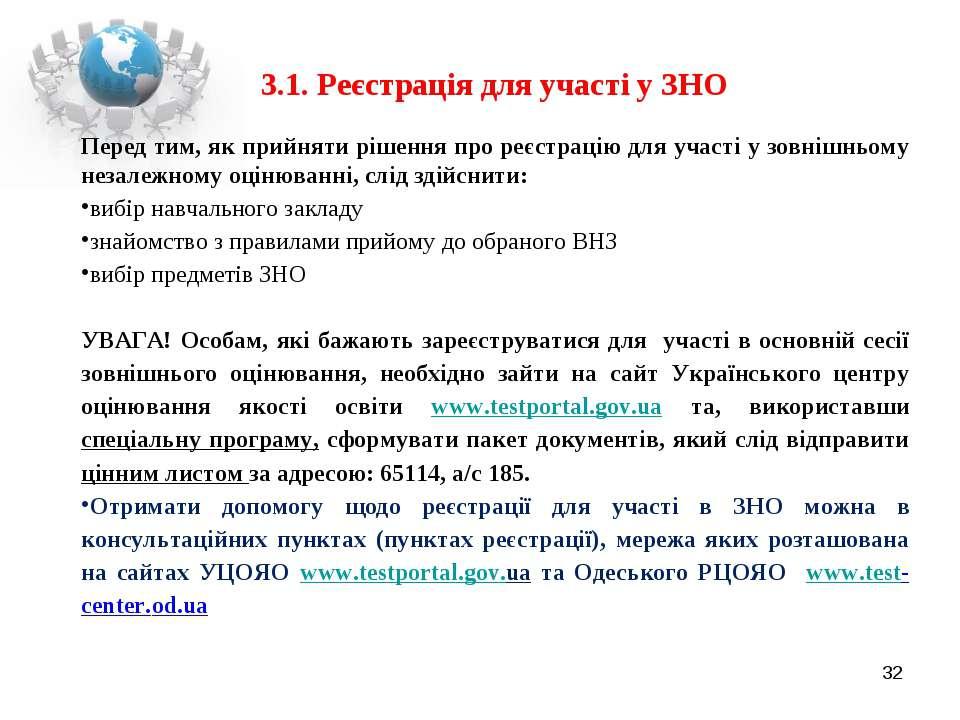 3.1. Реєстрація для участі у ЗНО Перед тим, як прийняти рішення про реєстраці...
