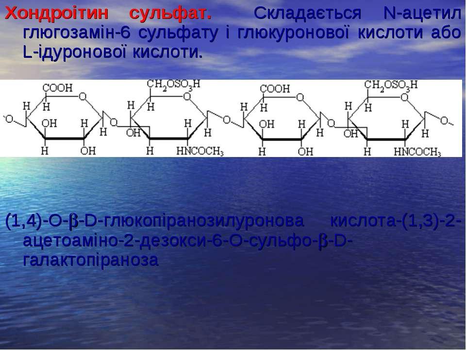 Хондроітин сульфат. Складається N-ацетил глюгозамін-6 сульфату і глюкуронової...