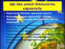 Що дає школі діяльність євроклубу Євроклуб піднімає престиж школи. Функціонув...