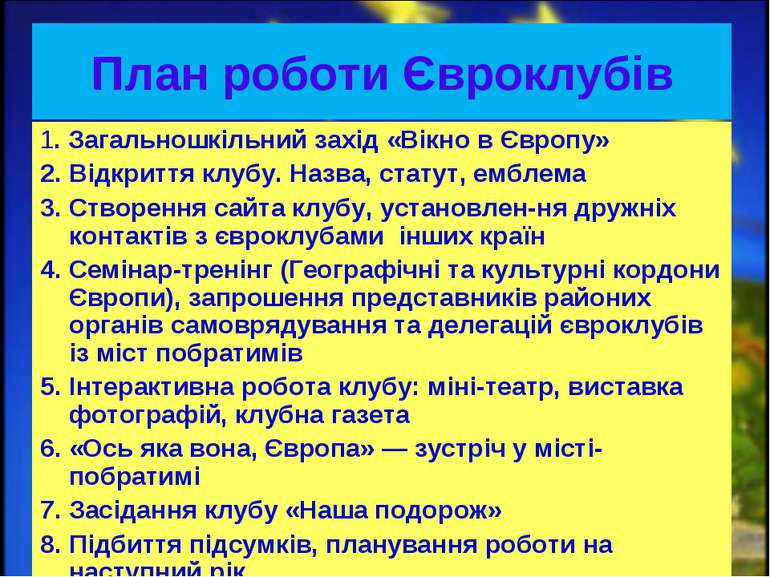 План роботи Євроклубів 1. Загальношкільний захід «Вікно в Європу» 2. Відкритт...