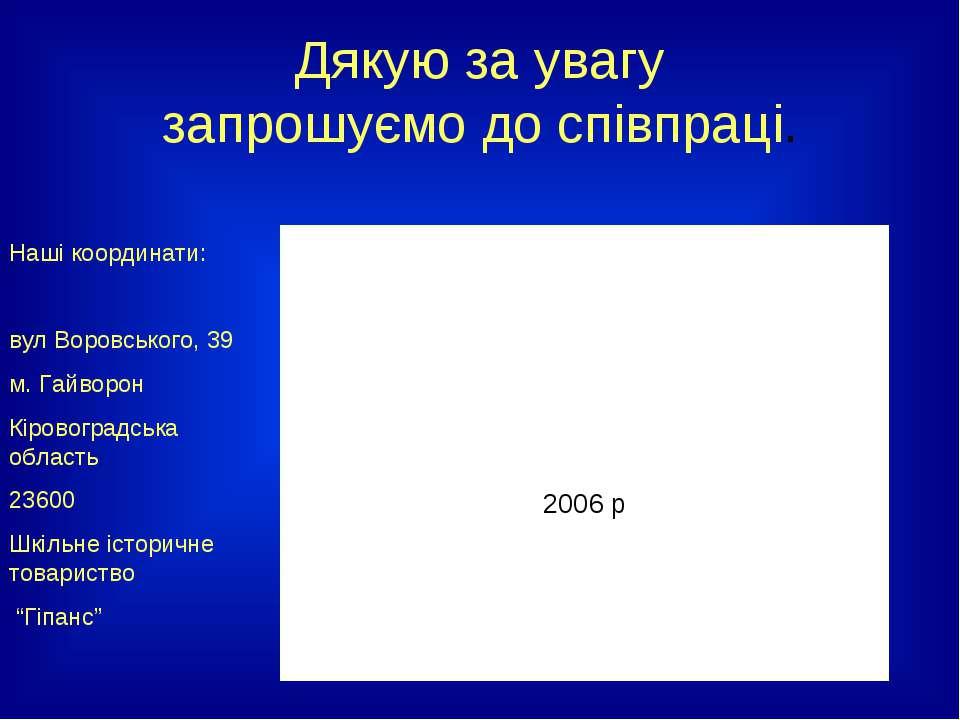 Дякую за увагу запрошуємо до співпраці. Наші координати: вул Воровського, 39 ...