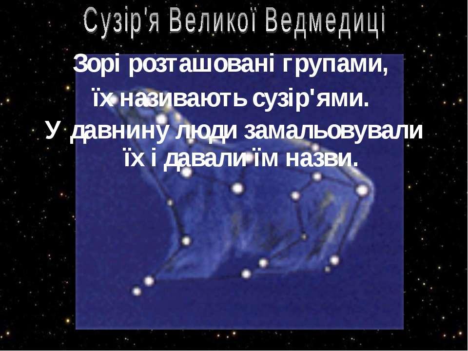Зорі розташовані групами, їх називають сузір'ями. У давнину люди замальовувал...
