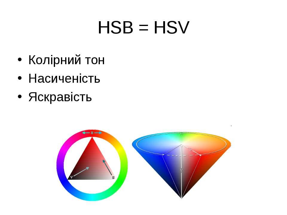 HSB = HSV Колірний тон Насиченість Яскравість